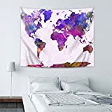 World map Wall Hanging Tapestry, Decor Tapestries, Print Painting Tapestry, Handmade Badsheet Blanket, Bedding Bedspread, Picnic Beach Sheet, Table Cloth, Decorative Wall Hanging, 59x51 Inch, By Eleoption