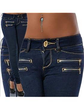 Hibote Mujer Pantalones Jeans Cintura Baja Pantalón Slim Elástico Flacos Ajustados Leggings Color Sólido Push...