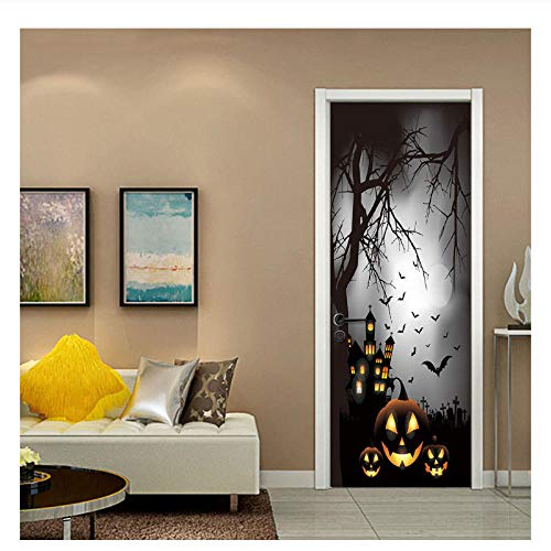 Nebel Mond Nacht Kürbis Fledermaus Aufkleber Halloween Dekorationen Kürbis Tür Aufkleber Halloween Party Dekoration Aufkleber 77x200cm