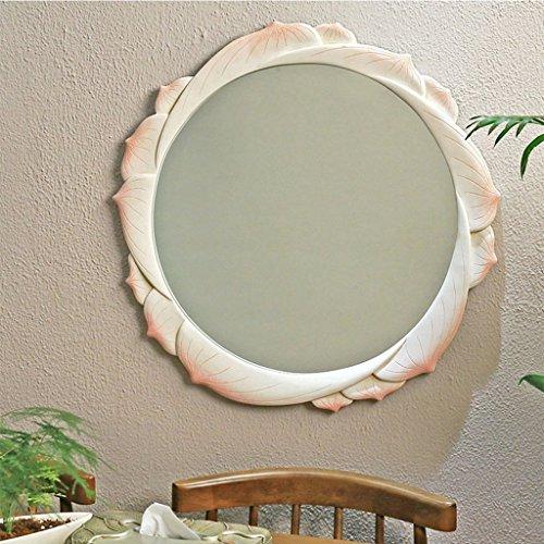 Mirror- nouveaux bains de Lotus chinois résine miroir décoratif créatif salle de bains chambre à coucher commode ornement Art Murale ronde Miroir miroir miroir de beauté ( Couleur : blanc d'Ivoire )