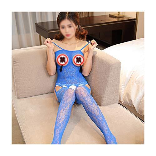 Jiabei Sexy Dessous Damen sexy transparent hohl Jacquard Tau offene datei Riemen einteiliges mesh kostüm sexy (Farbe : Blau) (Exotische Göttin Sexy Kostüm)