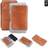 K-S-Trade Allview P4 eMagic Gürteltasche Schutz Hülle Gürtel Tasche Schutzhülle Handy Smartphone Tasche Handyhülle PU + Filz, braun (1x)