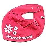 HALSTUCH BLUMEN mit Namen oder Text personalisiert pink für Baby oder Kind