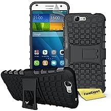 Huawei Ascend G7 Funda, FoneExpert® Heavy Duty silicona híbrida con soporte Cáscara de Cubierta Protectora de Doble Capa Funda Caso para Huawei Ascend G7 + Protector Pantalla (Negro)