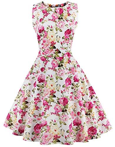 FAIRY COUPLE 50s Retro Blumen Cocktail Schwingen Party Kleid mit Bogen DRT017(XL,Rosa Gelb Floral) (Anlass Kleid Floral)