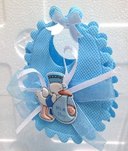 Stock 12 pezzi bavetto bavaglino celeste portaconfetti con cicogna e nastro chiusura velcro bomboniera nascita bambino
