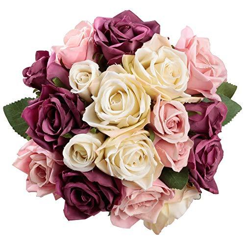Famibay Rosen Künstliche Blumen 2 Blumenstrauß Blumenschmuck für Haus Gefälschte Blumen Braut Hochzeitsblumenstrauß 18 Rosen Köpfe für Haus Garten(Lila mit Champagner) -