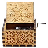 amilses Family Carved Wooden Hand Crank Music Box Birthday Musical Boxes & Figurines