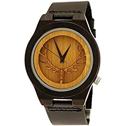 'Pure Time® Designer Unisex Organic Natural Wood Leather Watch in Black Stag Funny Limited Edition + Watch Box