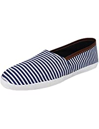 Hirolas Men Stripe Canvas Loafers - Blue