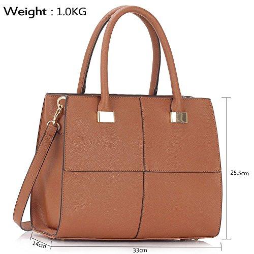 LeahWard® Damen Mode Essener Große Größe Qualität Chic Tragetaschen Handtaschen CWS00153L CWS00153M CWS00153M-Braun