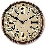QLK Nostalgie Wanduhr Kupfer PITTO, ohne Tickgeräusche, Antik Optik, Shabby, geräuscharme Uhr, Kupferuhr, Vintage ø32 cm