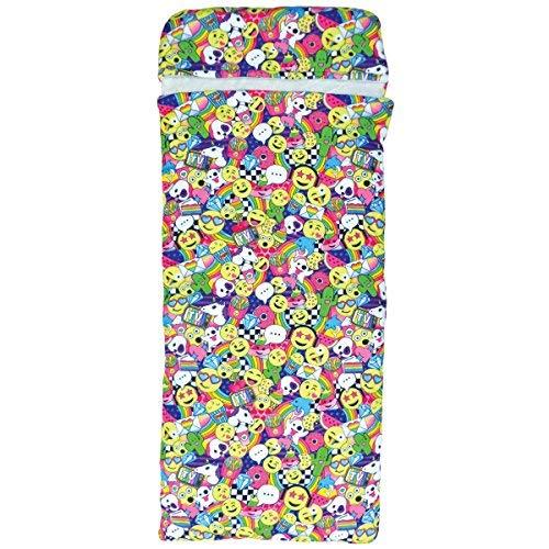 iscream 177,8x 71,1cm Faux Sherpa-Lined Fleece Reißverschluss Schlafsack-Emoji-Besties Collection 28