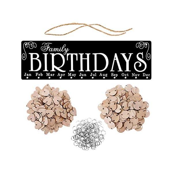 RROVE Recordatorio Calendario Año Nuevo Cumpleaños Familiar de Madera, Recordatorio Calendario Tablero Colgante de Pared… 1