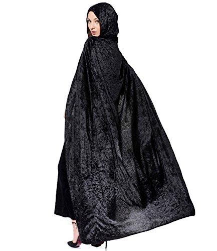 PB-SOAR Damen Herren Halloween Umhang Cape mit Kapuze Kostüm Karneval Fasching, 4 Farben auswählbar (Velvet Hexe Kostüme Black)