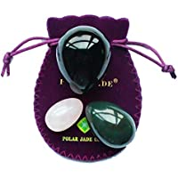 Yoni Eggs 3-pcs Set with 3 Sizes and 3 Gemstones, Drilled, with Unwaxed Thread & Instructions, Made of Nephrite Jade, Rose Quartz and Obsidian, for Yoni Love Muscles Massage, Polar Jade