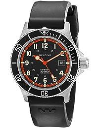Glycine Combat SUB - Reloj automático (42 mm, bisel interno de color naranja), correa de caucho color negro