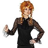 NET TOYS Steampunk Bluse Gothic Spitzenbluse schwarz 42/44 (M/L) Langarmbluse mit Jabot Burlesque Damenbluse