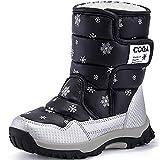 SAGUARO® Bambini Ragazza Stivali da Neve Inverno Stivaletti Pelliccia Boots Impermeabile Stivali,Nero,31 EU