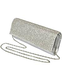 Girly Handbags - Sac à main de soirée / mariage - Gris avec strass / diamants