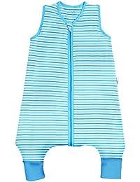Slumbersac - Saco de dormir con diseño de rayas azules para bebé (para verano, con pies, 1.0 tog, disponible en 5 tallas)