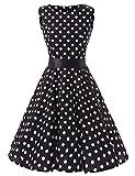 VKStar 50er 60er Retro Kleider Damen mit Tupfen Abendkleid Vintage Damen Rockabilly Ballkleid Schwarz S