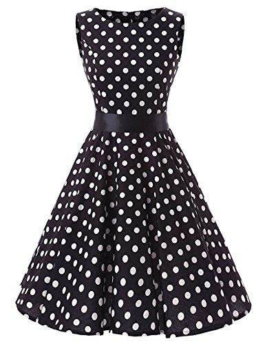 VKStar® 50er 60er Retro kleider damen mit Tupfen Abendkleid Vintage damen Rockabilly Ballkleid Schwarz XXL