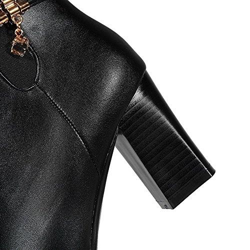 VogueZone009 Damen Spitz Zehe Hoher Absatz Weiches Material Eingelegt Stiefel Schwarz-PU