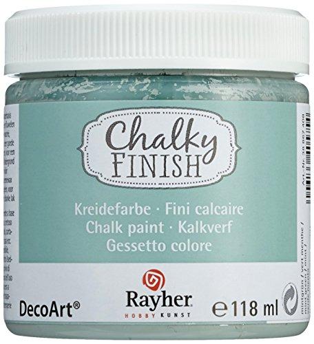 RAYHER Chalky Finish auf Wasser-Basis, Kreide-Farbe für Shabby-Chic, Vintage und Landhaus-Stil, mintgrün, 118 ml für ca. 2,7 m²
