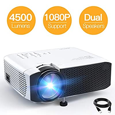 "Projector APEMAN Portable Mini Projector 4500 Lumens Support 1080P Max 180"" Display LCD Home Cinema Projector 50000 Hours LED Life HDMI/VGA/USB/SD/AV Input Chromecast Compatible(White)"
