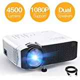 """Projector APEMAN Portable Mini Projector 4500 Lumens Support 1080P Max 180"""" Display LCD Home Cinema Projector 45000 Hours LED Life HDMI/VGA/USB/SD/AV Input Chromecast Compatible(White)"""