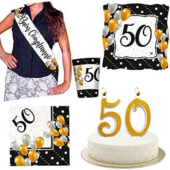 Kit Festa 50 Anni Compleanno Con Candelina Per Torta E