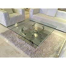 Designer Couchtisch Edelstahl Wohnzimmertisch Glastisch Glas Hochglanz 100cm X 42cm