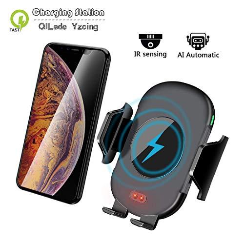 QILade Yzcing Funk-Kfz-Ladegerät/Auto-Clamp Qi Auto-Halterung/Fast Infrared Auto-Halterung Wireless-Ladegerät 10W Qi Wireless-Ladegerät Telefon-Halter Kompatibel für iPhone Samsung