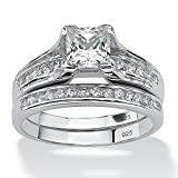 Palm Beach Jewelry - Platinum over Sterling Silver - Cubic Zirconia Wedding Ring Set