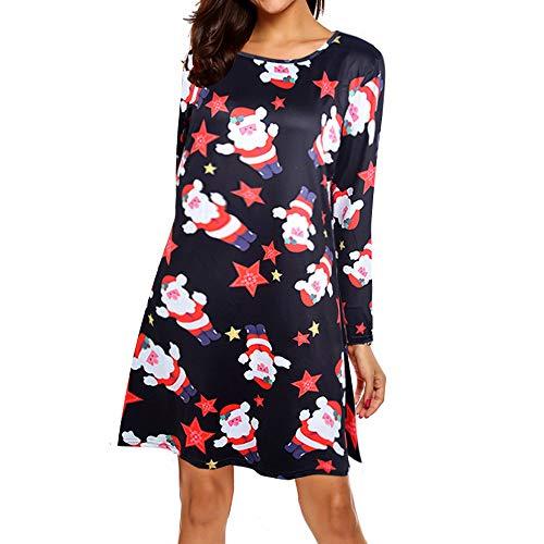 MRULIC Damen Blusenkleid Abendkleid Knielang Kleider Weihnachts Winterrock Festliches Kleid Mehrfarbig Verfügbar Schön Neujahr Herbst und Winter Kleid(B-Schwarz,EU-38/CN-L)