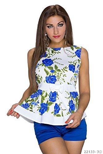 Damen Shirt mit Rosenprint in Schößchen Optik Weiss-Blau