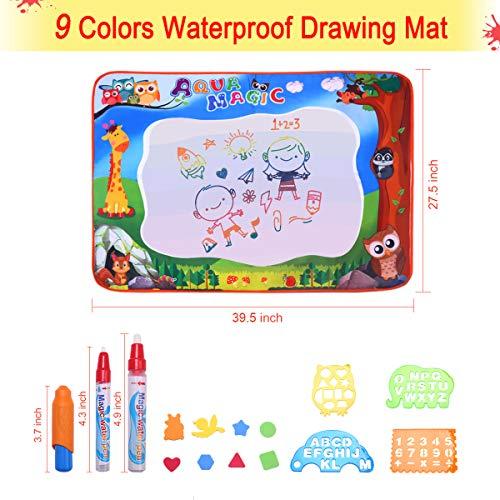 846c000dfd Conthfut Kids Baby Toddler Wasser Zeichnen Matte Toy mit 2 Stiftes, 100 x  70 cm, 1 Bürste und 12 Ziehformen Aqua Drawing Painting Mat Extra Große mit  9 ...