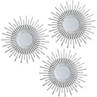 Lama Juego de Espejos de Pared, Blanco, 75x25x1.5 cm, 3 Unidades
