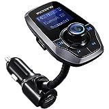 Transmisor FM de VicTsing para coche,Bluetooth Manos Libres Cargador con Audio de1.44 pulgadas LCD y 3.5mm Mic Puerto, Ranura para Tarjeta del TF(Gris)