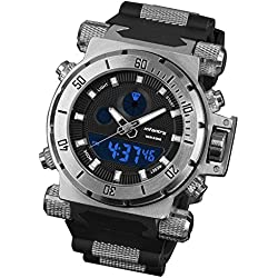 INFANTRY® Mens Analogue - Digital Wrist Watch Chronograph Night Vision Army Black Rubber Strap