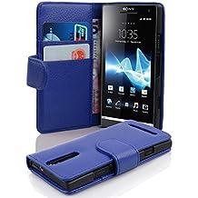 Cadorabo - Funda Sony Xperia S Book Style de Cuero Sintético en Diseño Libro - Etui Case Cover Carcasa Caja Protección con Tarjetero en AZUL-REAL