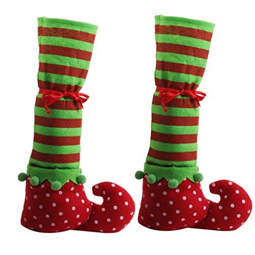 PETSOLA Paar Weihnachten Tischbeindecken Elf Elfen Füße Schuhe Beine Party Dekoration (Filz Elfen Schuhe)