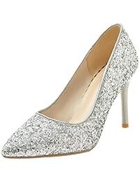 UH Damen Elegante Spitze High Heels Glitzer Pumps mit Stiletto Hochzeit  Braut Party Schuhe b55ba29bee