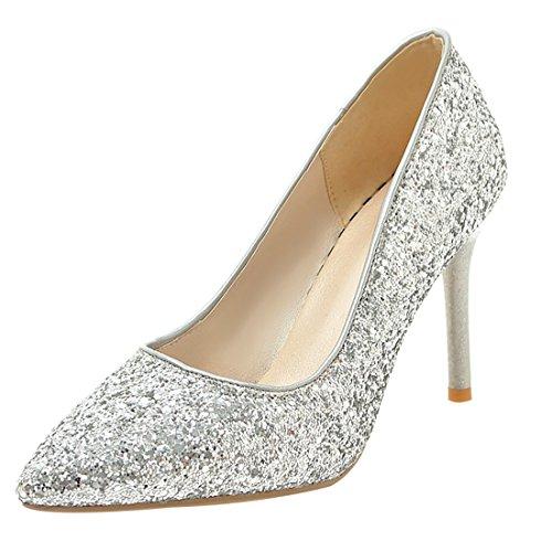 Hochzeit Silberne Heels (UH Damen Elegante Spitze High Heels Glitzer Pumps mit Stiletto Hochzeit Braut Party Schuhe)
