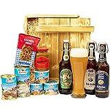 Großes Geschenkset Bayern | Bayrischer Geschenkkorb gefüllt mit Bier, Weizen Bierglas und bayerische Delikatessen | Oktoberfest Geschenk Box Bayrisch