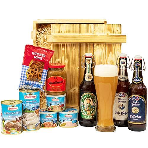 Großes Geschenkset Bayern | Bayrischer Geschenkkorb gefüllt mit Bier, Weizen Bierglas und bayerische Delikatessen | Oktoberfest Geschenk Box Bayrisch (Eltern-geschenk-korb)