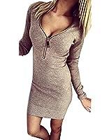 Women Deep V-neck Metal Zipper Knitting Bodycon Mini Sweater Dress UK Size 6