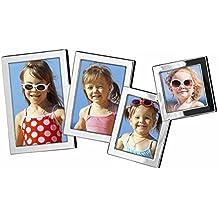 Edzard ed2331 Marco de fotos, Portaretratos Turin para 4 Fotos Plateado y protección contra deslustre