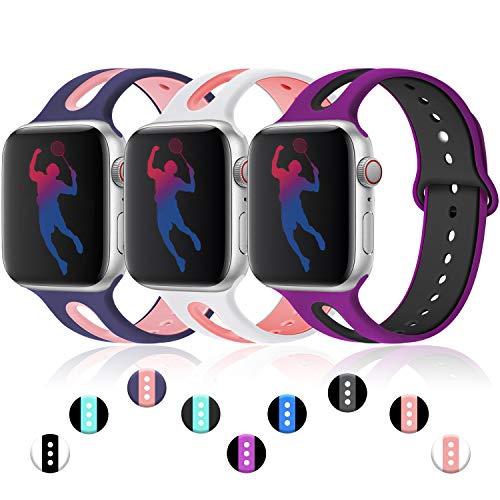 Maledan für Apple Watch Armband 38mm 40mm, Wasserdicht Weiches Silikon Ersatzarmband - Zweifarbiges Uhrenarmband für iWatch/Apple Watch Series 4 Series 3 Series 2 Series 1, S/M, 3Farben-3 - Damen Zweifarbige